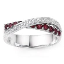 0.51 CTW GENUINE RUBY and GENUINE DIAMOND PLATINUM PLATED .925 STERLING SILVER RING #99313v2