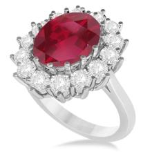 Oval Ruby and Diamond Ring 14k White Gold (5.40ctw) #20492v3