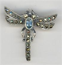 BEAUTIFUL Marcasite Dragonfly Brooch With Blue Topaz #18056v3