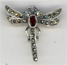BEAUTIFUL Marcasite Dragonfly Brooch With Garnet #18057v3
