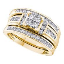 14KT Yellow Gold 1.00CTW DIAMOND INVISIBLE BRIDAL SET #56304v2
