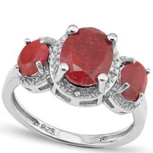 3.712 CTW DYED GENUINE RUBY and DIAMOND PLATINUM PLATED .925 STERLING SILVER RING #99309v2