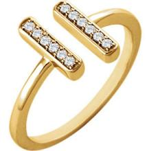14kt Yellow Gold .10 CTW Diamond Double Vertical Bar Ring #10033v3