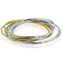 Ladies Two Tone Stainless Steel Interlocking Bangle Bracelets #10117v3