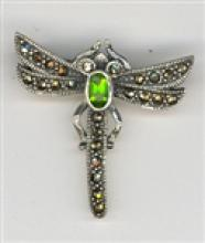BEAUTIFUL Marcasite Dragonfly Brooch With Peridot #18055v3