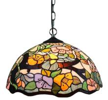 TIFFANY STYLE FLORAL HANGING LAMP 2 LIGHT 16 IN WIDE #10197v3