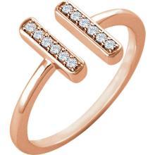 14kt Rose Gold .10 CTW Diamond DoubleVertial Bar Ring #10028v3