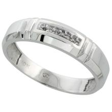10k White Gold Mens Diamond Wedding Band Ring 0.03 cttw Brilliant Cut, 7/32 inch 5.5mm wide #16268v3