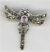 BEAUTIFUL Marcasite Dragonfly Brooch With Amethyst #18058v3