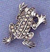 BEAUTIFUL Marcasite Frog Brooch #18059v3