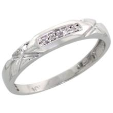 10k White Gold Ladies Diamond Wedding Band Ring 0.03 cttw Brilliant Cut, 1/8 inch 3.5mm wide #16272v3