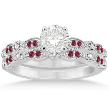 Ruby and Diamond Marquise Bridal Set 14k White Gold (0.41ct) #21057v3