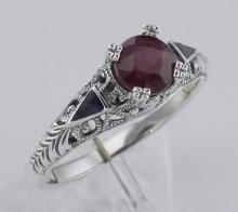 Art Deco Style Genuine Ruby Ring and Enamel - Sterling Silver #98428v2