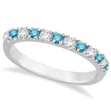 Blue and White Diamond Stackable Ring Band 14k White Gold (0.25ct) #21283v3