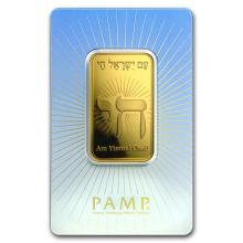 1 oz Gold Bar - PAMP Suisse Religious Series (Am Yisrael Chai!) #22500v3