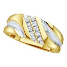 10KT Yellow Gold 0.12CTW DIAMOND FASHION MENS BAND #50299v2