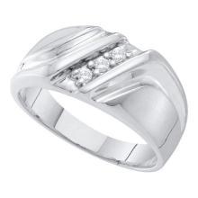 10KT White Gold 0.10CT DIAMOND FASHION MENS BAND #60565v2