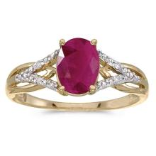 Certified 14k Yellow Gold Oval Ruby And Diamond Ring #51419v3