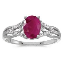 Certified 10k White Gold Oval Ruby And Diamond Ring #51484v3