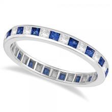 Princess-Cut Sapphire and Diamond Eternity Ring 14k White Gold (1.26ct) #53766v3