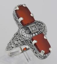 Art Deco Style 2 Stone Red Carnelian Diamond Filigree Ring Sterling Silver #98537v2