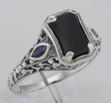 Art Deco Style Black Onyx Filigree Ring w/ Sapphire Accents - Sterling Silver #98543v2