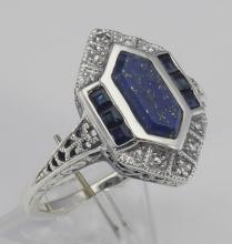 Art Deco Style Lapis Sapphire and Diamond Filigree Ring - Sterling Silver #98533v2