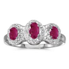 Certified 10k White Gold Oval Ruby And Diamond Three Stone Ring #51422v3