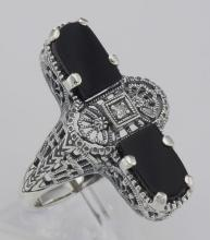 Art Deco Style 2 Stone Black Onyx and Diamond Filigree Ring Sterling Silver #98539v2