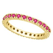 Pink Sapphire Eternity Ring Stackable Band 14k Yellow Gold (0.73ct) #51664v3