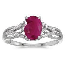 Certified 14k White Gold Oval Ruby And Diamond Ring #51367v3