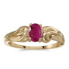 Certified 14k Yellow Gold Oval Ruby Ring #25458v3