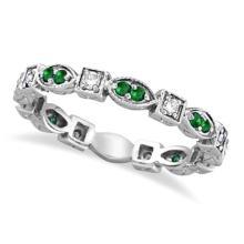 Emerald and Diamond Eternity Ring Anniversary Band Palladium #53525v3
