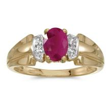 Certified 10k Yellow Gold Oval Ruby And Diamond Ring #50558v3