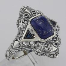 Art Deco Style Blue Lapis Lazuli Filigree Ring Sapphire Accents Sterling Silver #98541v2