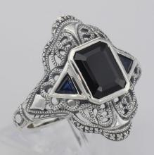 Art Deco Style Black Onyx Filigree Ring w/ Sapphire Accents - Sterling Silver #98540v2