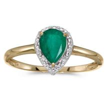 Certified 14k Yellow Gold Pear Emerald And Diamond Ring #51415v3