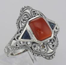 Art Deco Style Red Carnelian Filigree Ring Sapphire Accents - Sterling Silver #98542v2