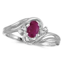 Ruby and Diamond Swirl Ring in 14k White Gold (0.95ctw) #53156v3