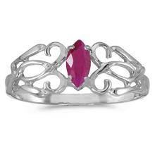 Marquise Ruby Filigree Ring Antique Style 14k White Gold #53152v3