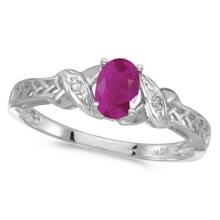 Ruby and Diamond Antique Style Ring in 14K White Gold (0.60ct) #53150v3