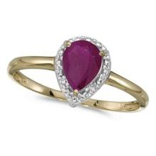 Pear Shape Ruby and Diamond Cocktail Ring 14k Yellow Gold #53153v3
