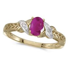 Ruby and Diamond Antique Style Ring in 14K Yellow Gold (0.60ct) #53151v3