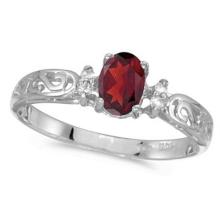 Ruby and Diamond Filagree Ring Antique Style 14k White Gold #53154v3