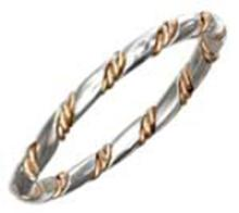STERLING SILVER BAND WITH 12 KARAT GOLD FILLED TWISTED WIRE WRAP #16866v3
