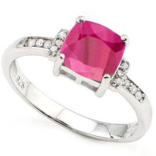 2.20 CT DYED GENUINE RUBY & GENUINE DIAMOND PLATINUM PLATED .925 STERLING SILVER RING #99585v2