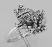 Cute Frog Ring - Toad Ring - Sterling Silver #97817v2