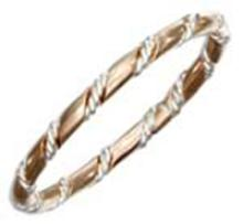 STERLING SILVER AND 12KT GOLD FILLED BAND WITH STERLING SILVER TWISTED WIRE WRAP #16867v3