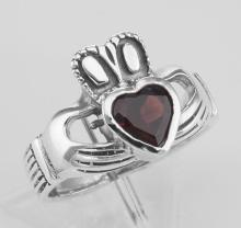 Irish Claddagh Ring with Genuine Red Garnet - Sterling Silver #97935v2