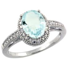 Sterling Silver Diamond Vintage Style Oval Aquamarine Stone Ring Rhodium Finish, 8x6 mm Oval Cut Gemstone sizes 5 to 10 #15499v3